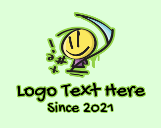 Scythe - Graffiti Doodle Figure Blade  logo design