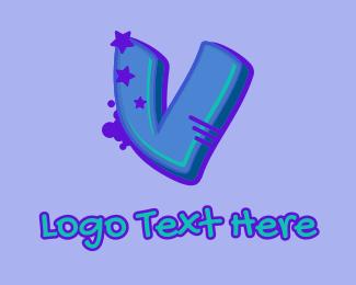 Record Producer - Graffiti Star Letter V logo design