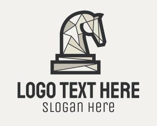 Strategy - Geometric Horse Chess Piece logo design