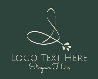 Stem - White Script Floral Letter S logo design