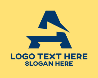 Utility - Lightning Bolt Letter A logo design