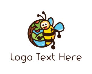 Honeybee - Bee & Apple Tree logo design