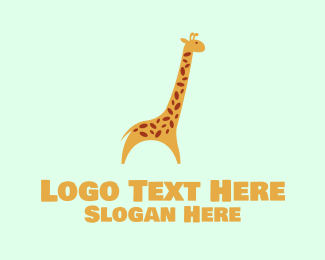 Zoo Animal - Cute Yellow Giraffe logo design