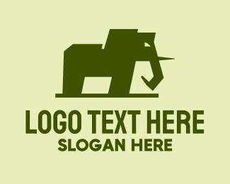 Jungle - Green Elephant Mammoth logo design