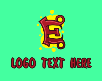 Hand Drawn - Graffiti Art Letter E logo design
