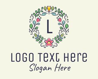 Wedding Planner - Flower Leaves Letter logo design