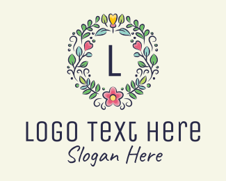 Coloring Book - Flower Leaves Letter logo design