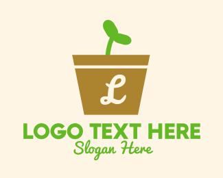 Sprout - Sapling Pot Lettermark logo design