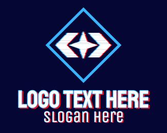 Online Streamer - Static Motion Star Glitch logo design