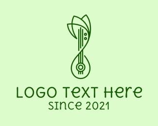 Shamisen - Monoline Lotus Lute  logo design