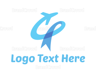 Airline - Ribbon Plane logo design