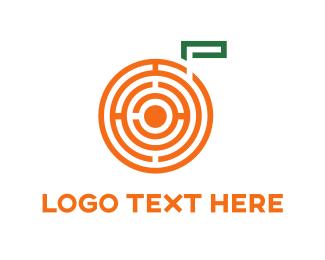 Green And Orange - Orange Maze logo design