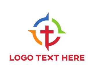 Gun - Colorful Crucifix logo design