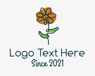 Flower Boutique - Flower Shop Line Art logo design