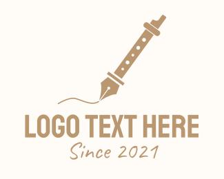 Writter - Fountain Pen Flute logo design