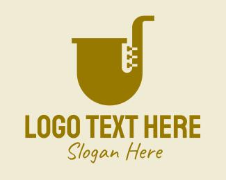 Jazz Lounge - Simple Brass Saxophone   logo design