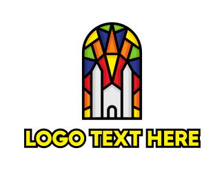 Shrine - Colorful Mosaic Church logo design