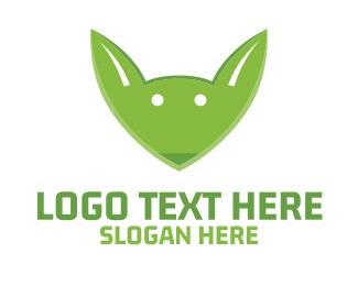 Ear - Green Fox Face logo design