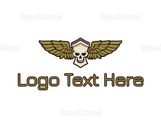 Wing - Greek Skull Wing logo design