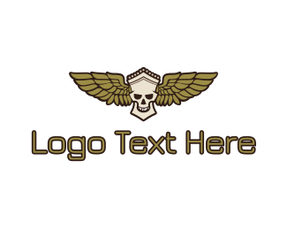 Corps - Greek Skull Wing logo design