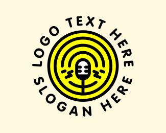 Interview - Podcast Radio Mic Broadcast logo design