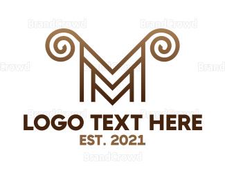 Whirl - Luxury M Horns logo design