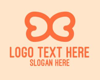 Lineart - Orange Wings Outline logo design