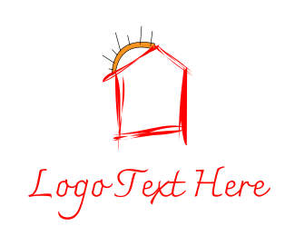 Scribble - Red House logo design