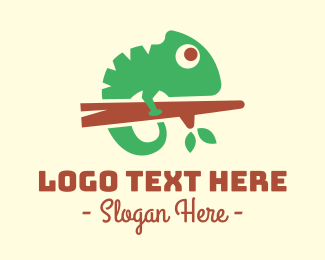 Jungle Animal - Cute Chameleon logo design