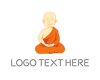 Retreat - Meditating Monk logo design