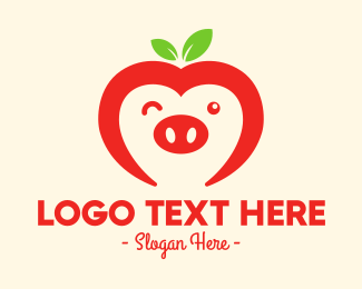 Wink - Happy Fruit Pig logo design