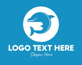 Coral - Cute Happy Dolphin  logo design