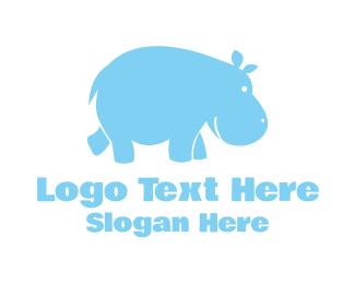 Fat - Blue Hippo logo design