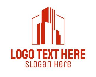 Architect - Red Building Architect logo design