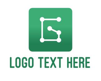 Wireframe - Circuit Letter G App logo design