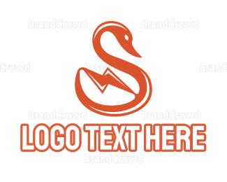 Goose - Bolt Swan logo design