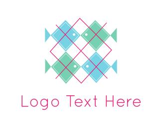 Green And Pink - Fish Pattern logo design