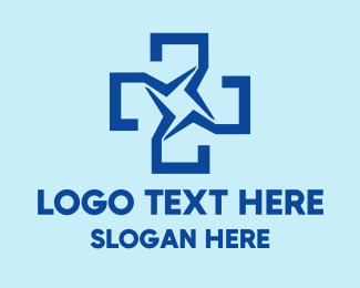 Checkup - Blue Star Cross logo design
