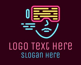 Screen - Neon Digital Goggles logo design