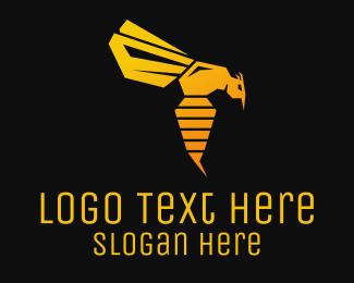 Pest - Golden Flying Wasp logo design