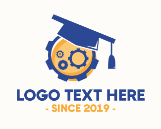Blue Cog - Industrial Graduation logo design