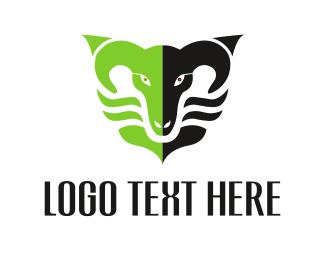 Sheep - Black & Green Ram logo design