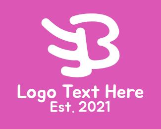 Childrens - Pink Wing Letter B logo design