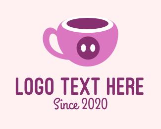Pig - Pink Pig Cup  logo design