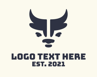 Bullfight - Minimalist Blue Ox logo design