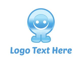 Blue Button Cartoon Logo