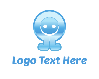 Illustration - Blue Button Cartoon logo design