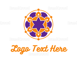 Orange And Purple - Floral Mandala logo design