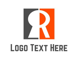 Key - Red Keyhole  logo design