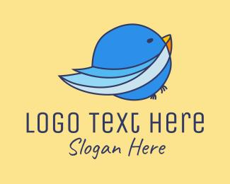 Finch - Round Blue Bird logo design